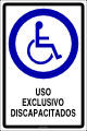 USO EXCLUSIVO DISCAPACITADOS